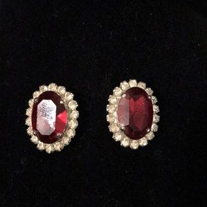 Jewelry - Ruby rhinestone earrings